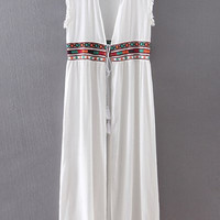 White Ethnic Stand Neck Long Waistcoat