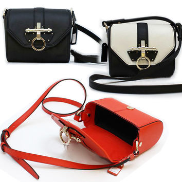 Leather Saddle Crossbody-Color Red
