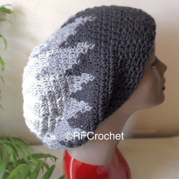 Oversized Slouchy Beanie Gray Geometric | Dreadlock Hat | Adult Beanie | Locs | Bad Hair Day Beanie | Custom Orders for Colors Welcome