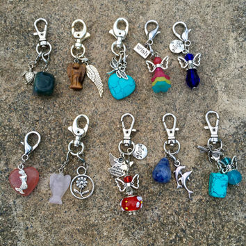 Purse Clips Assortment (10 Purseclips) Randomly Selected w/ Bag & Angel Message Card Option. Angel, Reiki, Healing Energy Infused. TEMPT
