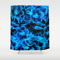 Blue Flowers Shower Curtain by Page394