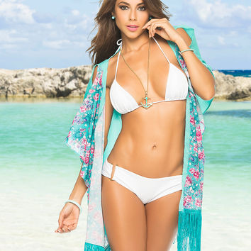 Turquoise Fringed Beach Kimono-Swimwear Cover Up