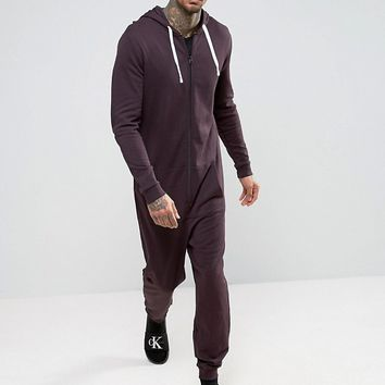 ASOS Onesuit In Burgundy at asos.com