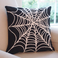 Spider Web Pillow Cover Chunky Yarn Spiderweb Halloween Decor 18 x 18