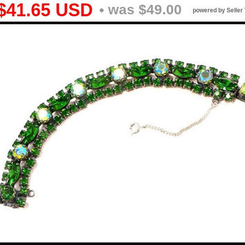 SALE! Art Deco AB Rhinestone Bracelet, Green Aurora Borealis, Victorian Revival 1930s Costume, Runway Rockabilly Prom, Gift for Mom