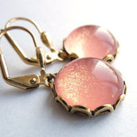 Peach Earrings, Gold Glitter Earrings, Leverback Earrings***SOLD OUT***