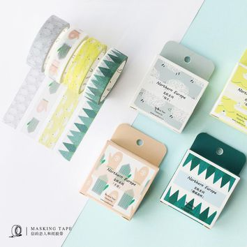 1.5cm*7M Flowers Fox Steamer Mushroom Decorative Washi Tape Scotch DIY Scrapbooking Masking Craft Tape School Office Supply