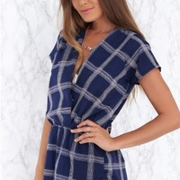 Praline Playsuit Navy Check