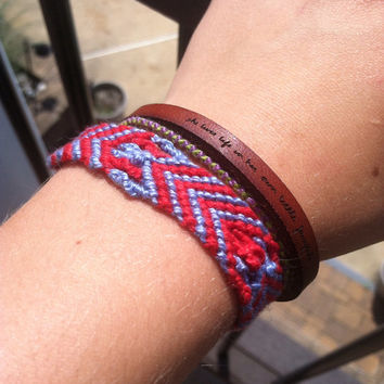 Patriotic colored chevron string friendship bracelet