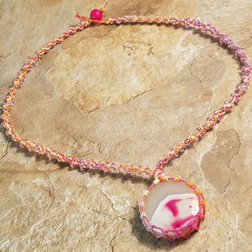 Pink Agate Wrapped Stone Beaded Hemp Necklace