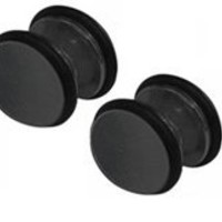 Pair of Small Black Steel Magnetic Fake Gauges 2g-Magnetic Earrings-Fake Ear Plug-No Pierce Body Jewelry