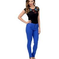 Royal Blue High Waist Button Up Stretch Cigarette Pants