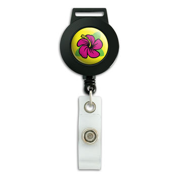 Hibiscus Luau Retractable Badge Card ID Holder