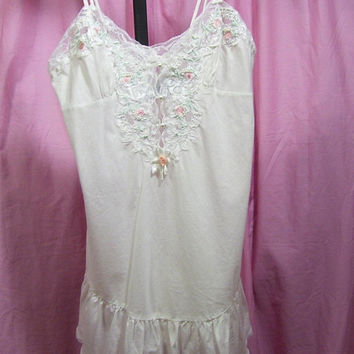 Chemise Night Gown, Whisper Cotton, Sexy, Victorian Laces. Embroidery,  Roses, Bridal Honeymoon, Resort Cruise, Etienne, Size S Small