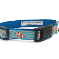 Blue Ocean Clownfish Nautical Beach Unisex Dog Collar