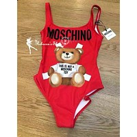 shosouvenir Moschino Fashion Women Beach Cute Bear Print Halter Vest Style One Piece Bikini Swimsuit