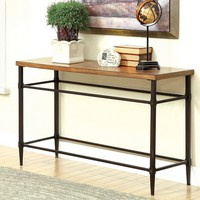 Herrick collection transitional style light oak finish wood and metal frame console entry sofa table