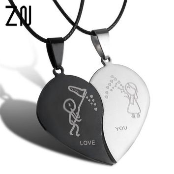 ZN 2018 2pcs Couples Jewelry Broken Heart Necklaces Black Couple Necklace Stainless Steel Engrave Love You Pendants Necklace