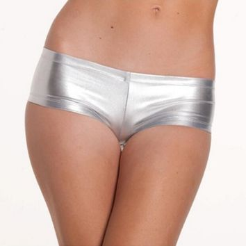 Pole dancing club show clothing patent leather shorts sexy boxer shorts