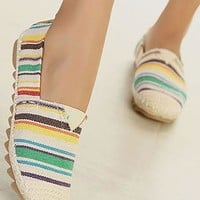 Colorful Strip Print Round Toe Loafers