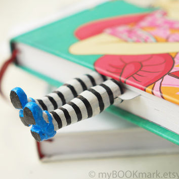 SALE! Alice in Wonderland bookmark. Legs in blue shoes. White stockings with black stripes.For her, for all, for kids