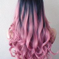 Hand dye Dark roots Pastel pink wig. Pink Ombre wig. Mauve Pink wig. Long Curly hair long side bangs wig.
