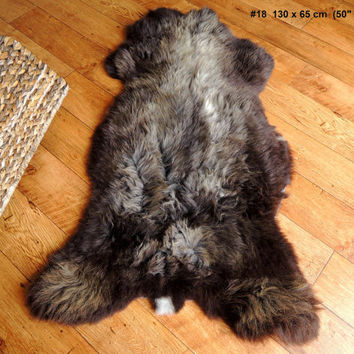 Wonderful Genuine Natural Soft Wool Sheepskin Rug - Brown / Silver / Grey Mix - egSN 18