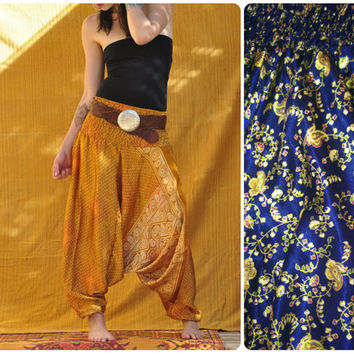 Harem Pant  // one of a kind vintage silk harem pant // . ready to ship. boho, summer threads