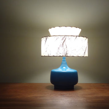 Painted Blue Vintage Lamp, Mid Century Modern Lighting, Small Desk Lamp - Shade Not Included