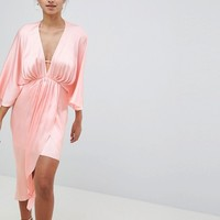 ASOS DESIGN Midi Plunge Kimono In Satin at asos.com