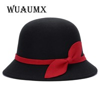 [Wuaumx] Vintage Fall Winter Fedora hat for Women Dome Cloche felt top hat for girl floppy homburg female bowknot Bowler cap