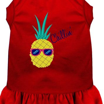 Pineapple Chillin Embroidered Dog Dress Red 4x (22)