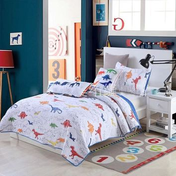 CHAUSUB Kids Quilt Set 2PC Cotton Quilts Quilted Bedspread Coverlet Dinosaur Printed Bed Cover Sheets Pillowcase child Bedding