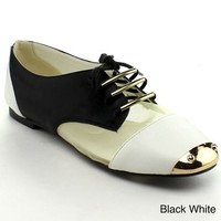 BUMPER JOLIE06 Women's Round Toe lace Up Metallic Toe Mesh Two Tone Flat Oxfords, Color:BLACK WHITE, Size:9