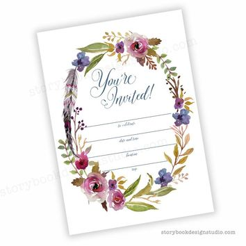 Boho Chic Floral Fill In Invitations