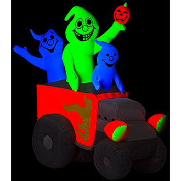 Halloween 6'H x 5'W Airblown  Inflatable Neon Hot Rod Ghosts, Includes Blacklight Spotlight
