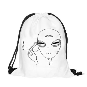 2016 New fashion Alien DrawString bag Unisex Backpacks women 3D Printing Bags Drawstring Rucksack mochila feminina#D