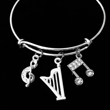 Musical Harp Adjustable Bracelet Music Notes Expandable Silver Charm Wire Bangle Trendy One Size Fits All Jewelry