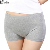 2017 Cheap New Ms Fashion Sexy Women's Cotton Boxer Shorts Girls Panties Ms Underwears Fat Plus Size Seamless Safety Pant Thick