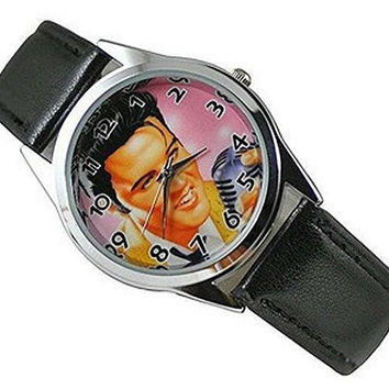 Elvis on Pink Background Womens or Girls Watch with Leath Leather Bands