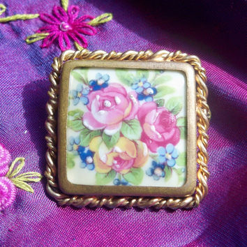 50's French Brooch Limoges Porcelain Roses Hand Painted Pink and Blue Flower