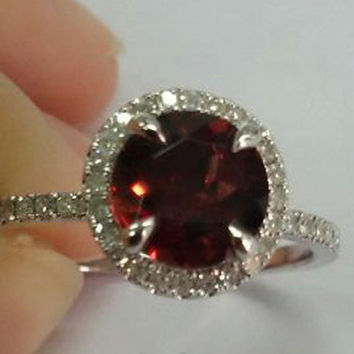 Garnet Engagement Ring 14k White Gold Diamond Wedding Bridal 7mm Round Cut Vs