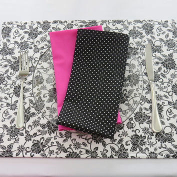 Black and White Floral Placemats, Matching Hot Pink, Red Napkins, Table Linens, New Home, Housewarming, Bridal Shower Gift, Set of 2
