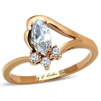 A Perfect 14K Yellow Gold 1CT Marquise Cut Russian Lab Diamond Engagement Ring