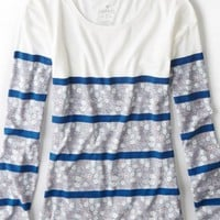 AEO Women's Floral Striped T-shirt