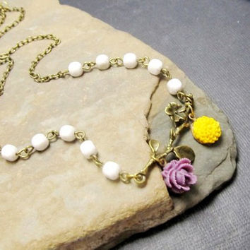 Antique Flower Necklace,Vintage Summer Necklace, ree Branch Necklace, Garden Necklace, Mother's gift, Accessories, Dainty Pastel Necklace