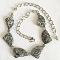 Unique and Lovely Natural Gray Black Stone Necklace Choker with Gray Quartz Faceted Ball Separators