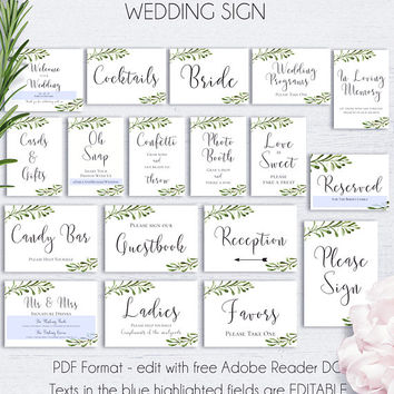 Wedding Signs Package, Wedding Reception, Reception Sign, Guest Book, Wedding Sign Set, Signs Printable, Signs for Reception, Hashtag Sign