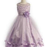 Long Lavender Pearl Flower Embroidered Bodice  Flower Girl Dress
