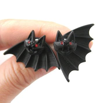 Unique Bat Shaped Two Part Animal Stud Earrings in Black | DOTOLY